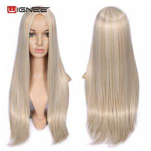 Image 4 - Wignee długie proste włosy peruka syntetyczna dla kobiet blond naturalne środkowa część włosów żaroodporne FiberNatural codzienne włosy peruka