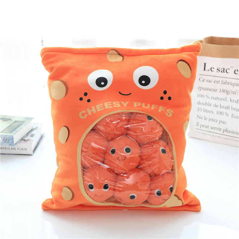 A Bag Of Puff Snacks Plush Toy Soft Stuffed Puff Doll Baby Soothing Toys Children Sleep Snack Pillows Home Sofa Bed Decorations