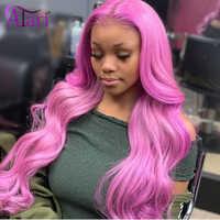 Peluca rosa de encaje Hd, pelucas de cabello humano de color miel, venta al por mayor, cuerpo, onda de encaje Frontal, pelucas de cabello peruano virgen, peluca Frontal de encaje