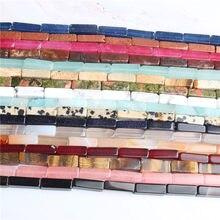 Linxiang fashion natural multicolor Rectangular prism Loose Beads DIY bracelet necklace ear stud Accessories