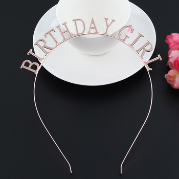 Letter Word Birthday Girl Tiara Crown Hair Accessories Plated Women Headband for Party Favor Decor