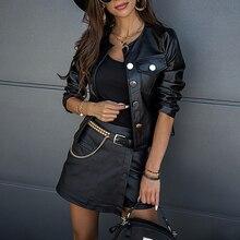 Женская куртка с карманами, черная укороченная куртка большого размера из искусственной кожи в Корейском стиле, верхняя одежда на осень и з...