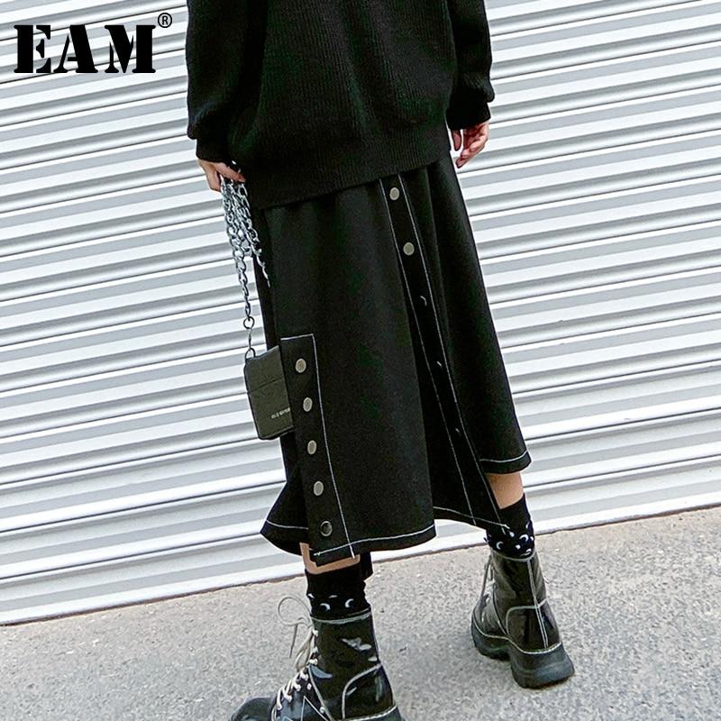 [EAM] High Elastic Waist Black Button Vent Split Temperament Half-body Skirt Women Fashion Tide New Spring Autumn 2020 1T079