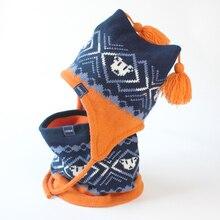 Детский Зимний вязаный комплект из шапки и шарфа, детский осенний теплый флисовый костюм с геометрическим рисунком и кисточками для игры в снежную погоду