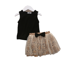 1-4T girls fashion kids outfit baby girl set black tank top and leopard tutu skirt set girls clothing girls boutique outfits цена