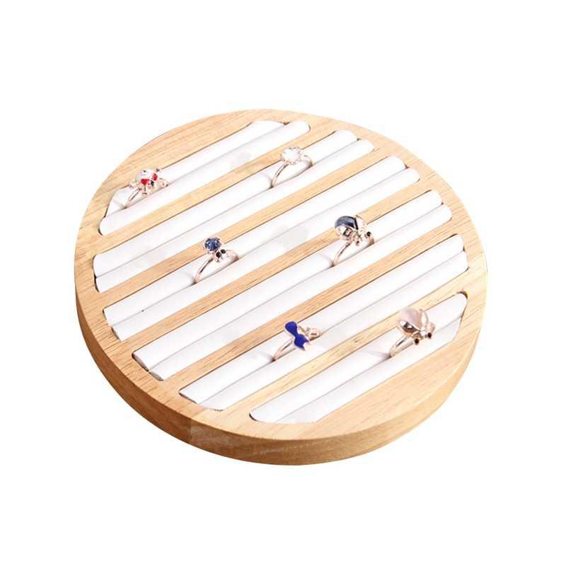 1 Pc anneaux présentoir plateau en bois rond porte-anneau montrant plaque bijoux organisateur vitrine pour magasin