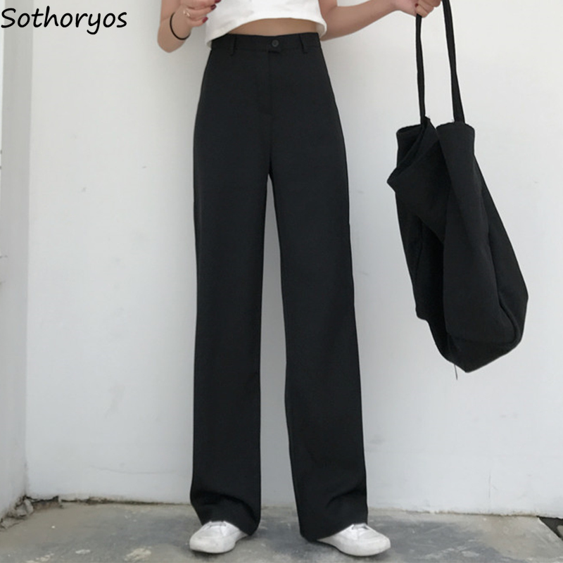 Pants Women Full Length Button Fly Solid Simple All Match Womens Korean Style Hot Sale Hot Sale Trousers Harajuku Pant Leisure