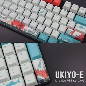 Image 2 - Oem pbtキーキャップセットキーキャップ昇華型浮世絵日本マンガマウスパッドGK61 ためチェリーmxスイッチメカニカルキーボード