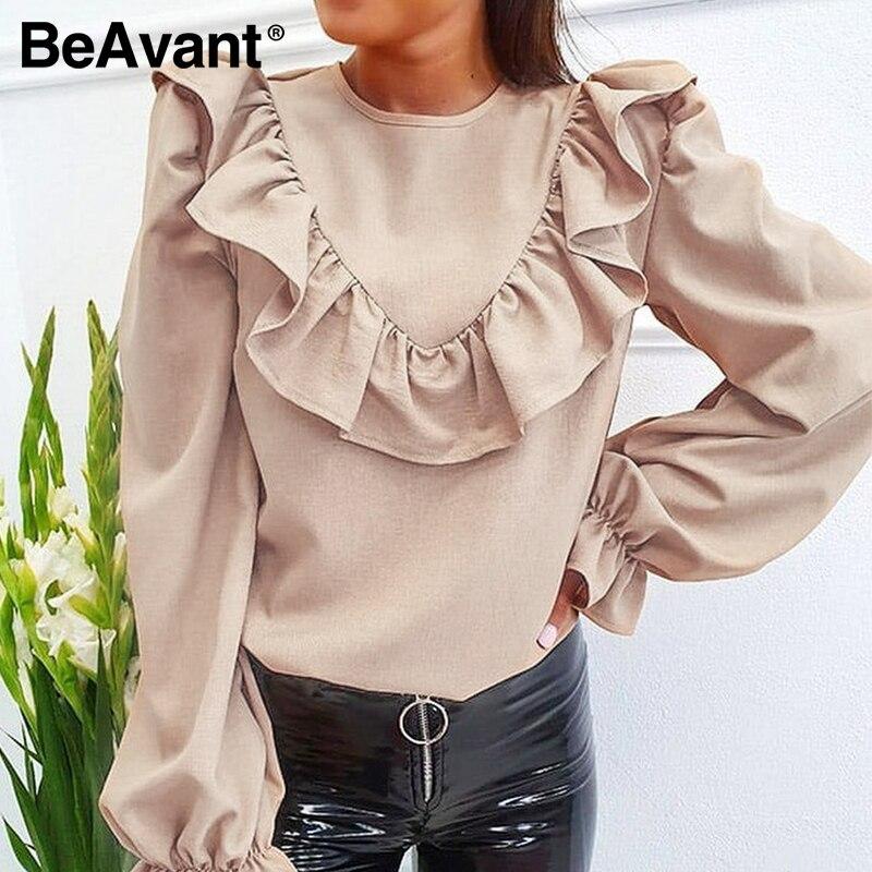 BeAvant Fashion Solid Loose Blouses Shirts Office Women 2020 O Neck Ruffles Casual Blouse Tops Elegant Female Blusa Retro