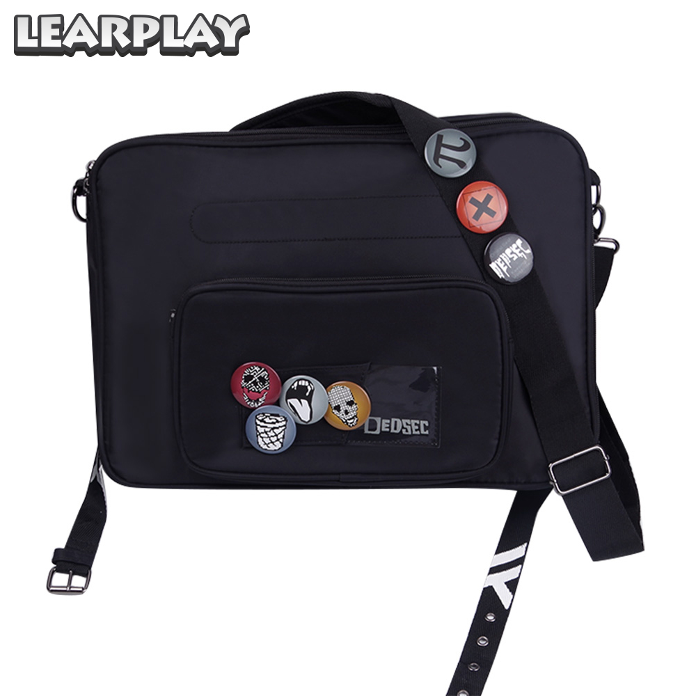 Marcus Holloway Cosplay Backpack Bag Game Watch Dogs 2 Adults Black Satchel With Badge Carnival Party Props Casual Accessories