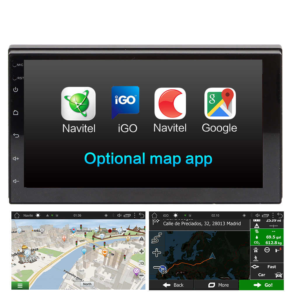 """7 """"2 Din Đa Phương Tiện Android 8.1 1 + 16 radio ĐỒNG HỒ Định VỊ GPS BT DAB FM USB Wifi không DVD Xe 2DIN Đài Phát Thanh"""