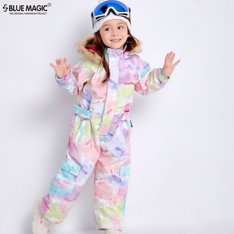Ternos de esqui bluemagic 19 para crianças macacão meninas meninos jaqueta de snowboard à prova d' água ao ar livre à prova d' água de Esqui geral-30 Graus