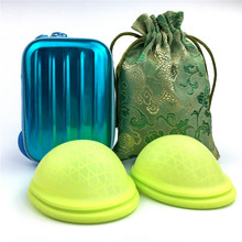 Disco menstrual com design de ajuste plano esterilização extra-fina reutilizável médica silicone copo menstrual tampão ou almofadas alternativa