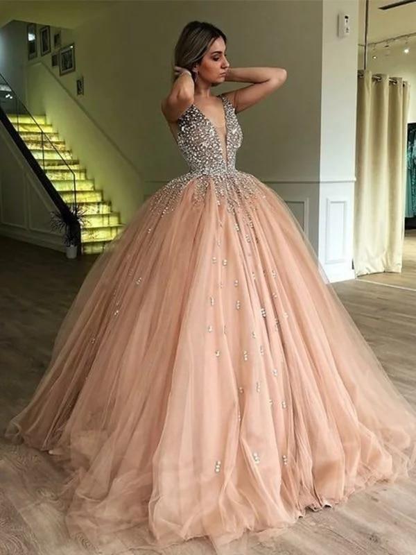 2020 Shinny Sparkle   Evening     Dress   Ball Gown V-neck Sleeveless Floor-Length Beading Tulle   Dresses   for Party