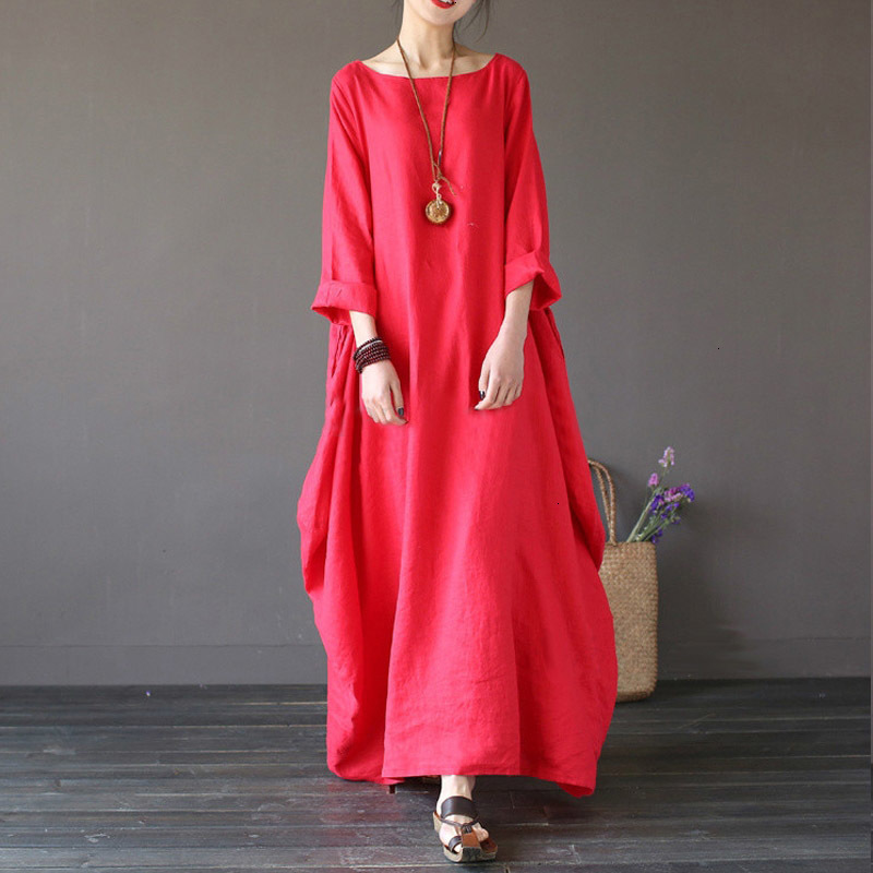 19 Summer autumn Plus Size Dresses Women 4xl 5xl Loose long vintage Dress Boho Shirt Dress Maxi Robe fashion Female Q293 8