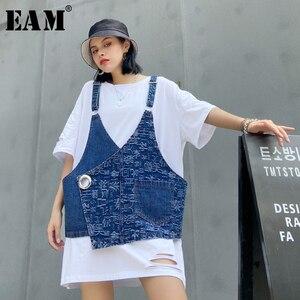 [EAM] Women Denim Letter Printed Big Size Dress New Round Neck Half Sleeve Loose Fit Fashion Tide Spring Summer 2020 1U786