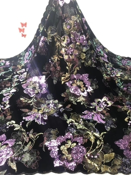 good quality flowers pattern design 5yards 2020 sequins lace fabric for women party dress   JIAJIAAP173