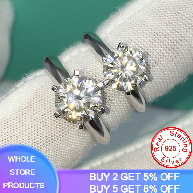 Free Sent Certificate 100% Original Solid 925 Sterling Silver 18K White Gold Wedding Rings for Women 8mm 2ct Lab Diamond Ring