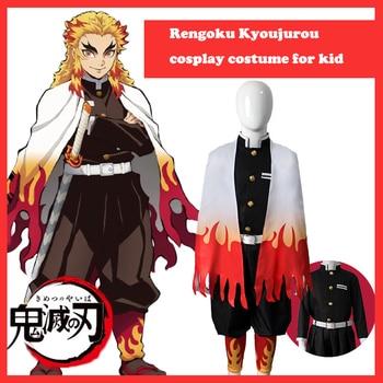 Cosplay Anime Demon Slayer Kid Costume Rengoku Kyoujurou Cosplay Costumes Kimono Kimetsu no Yaiba Cosplay Wig Carnival Halloween anime kimetsu no yaiba cosplay costumes blade of demon uzui tengen cosplay costume uniform b