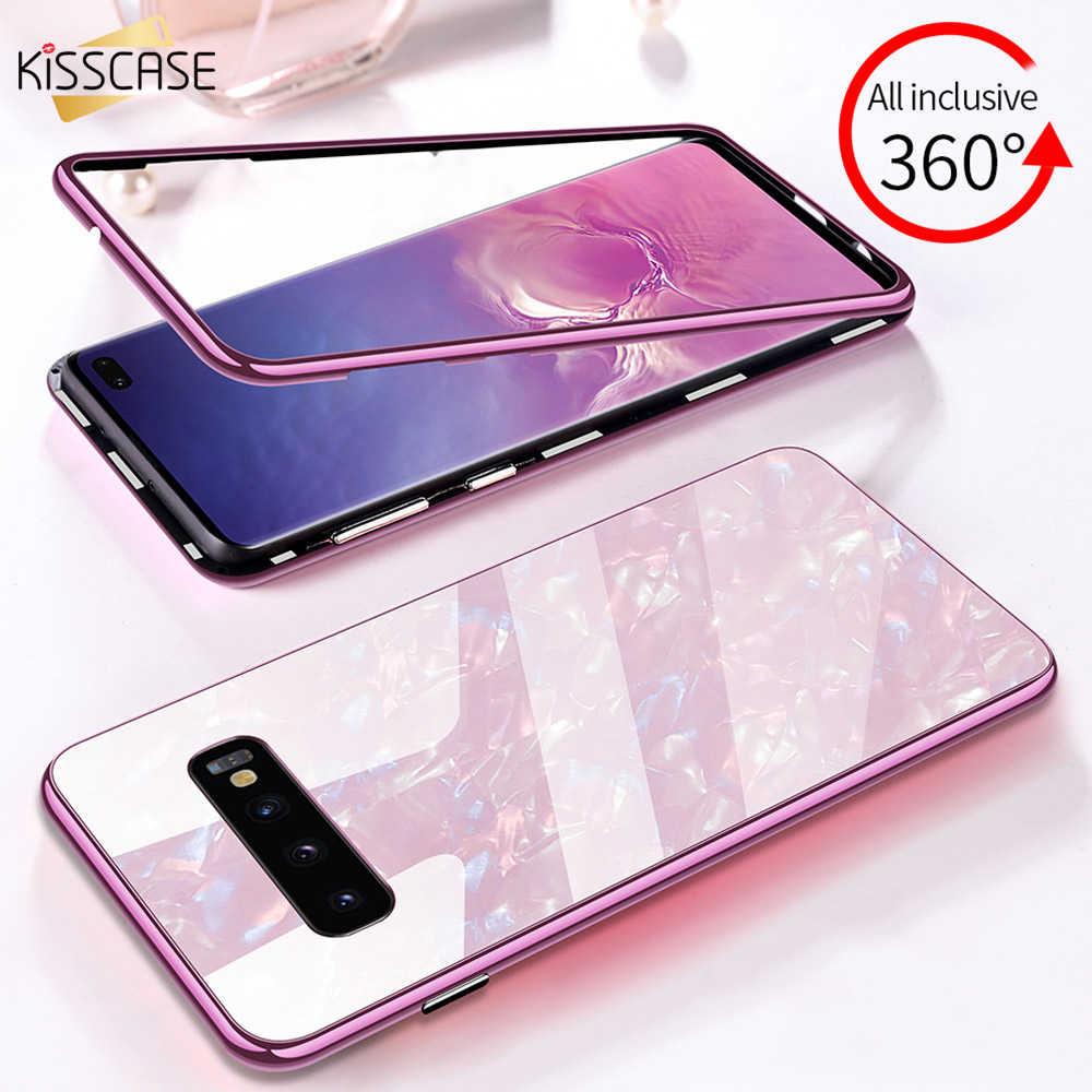 Kisscase caso magnético para o iphone xr xs max x 8 7 6 s mais xs caso capa de vidro escudo para samsung s10 s9 s8 s7 mais nota 8 coque