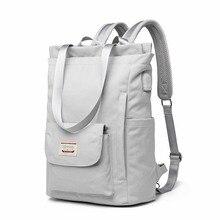 Waterproof Stylish Laptop Backpack women 13 13.3 14 15.6 inch Korean Fashion Oxford Canvas USB