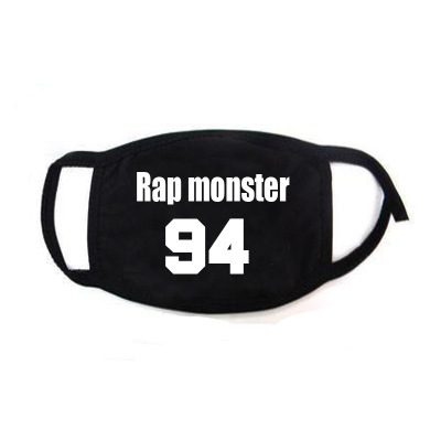 Hip Hop Mouth Face Mask Dustproof  Kpop V Suga Jimin Name Logo  Bangtan Boys Love Yourself Album Black Masks Fans Gift 3