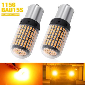 2x 1156 BA15S P21W LED 1141 7506 144 Chips 3014 SMD LED Bulbs Amber Yellow For Car Auto Turn Signal Backup Reverse Lights DC 12V