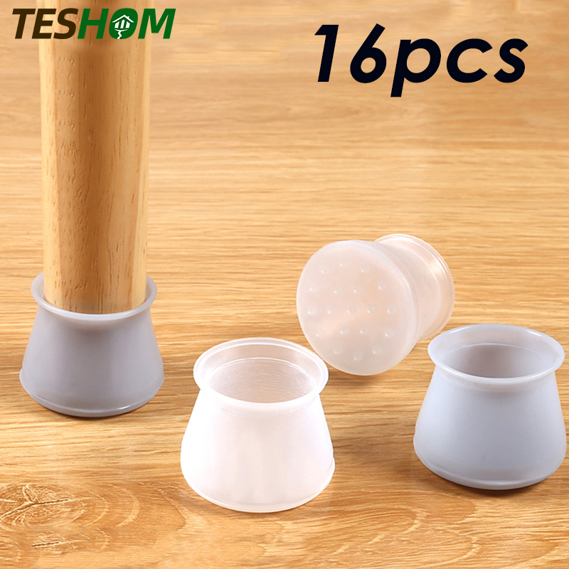 12/16pcs Table Chair Leg Silicone Cap Pad Furniture Non-slip Table Feet Cover Floor Protector Foot Protection Bottom Cover Pads
