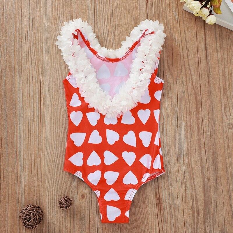 Cotton Baby Girls Swimsuit Love Print Petal Backless One-Piece Swimsuit Bodysuit Swimwear Baby Clothing