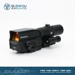 GLENPOU Taktische UH-1 Holographic Red Dot Umfang und VMX-3T 3X Lupe Combo Zielfernrohr mit Flip Mount Airsoft & Jagd umfang