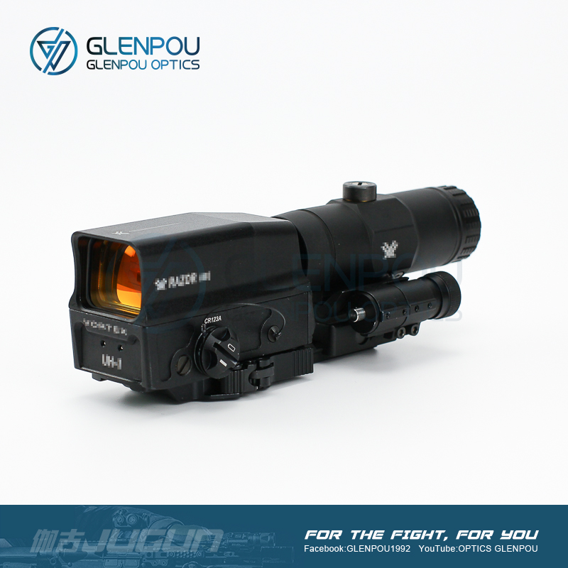 GLENPOU taktik UH-1 holografik Red Dot kapsam ve VMX-3T 3X büyüteç Combo tüfek kapsamı Flip dağı Airsoft avcılık kapsam