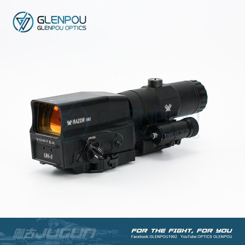 Telescópica de Ponto Mira de Rifle com Montagem Airsoft e Caça Escopo de Escopo Holográfico e Vmx-3t Mira Vermelho Glpou Tático 3x Flip Uh-1