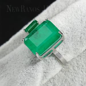 Image 4 - Newranos Square Fusion Stone Finger Ring Blue Natural Double Stone Opening Ring for Women Fashion Jewelry RFX001904