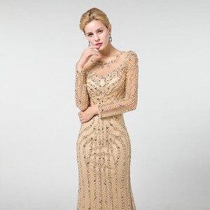 Image 5 - YQLNNE złote suknie wieczorowe z długim rękawem syrenka tiul kryształy frezowanie suknia na konkurs piękności Robe De Soiree
