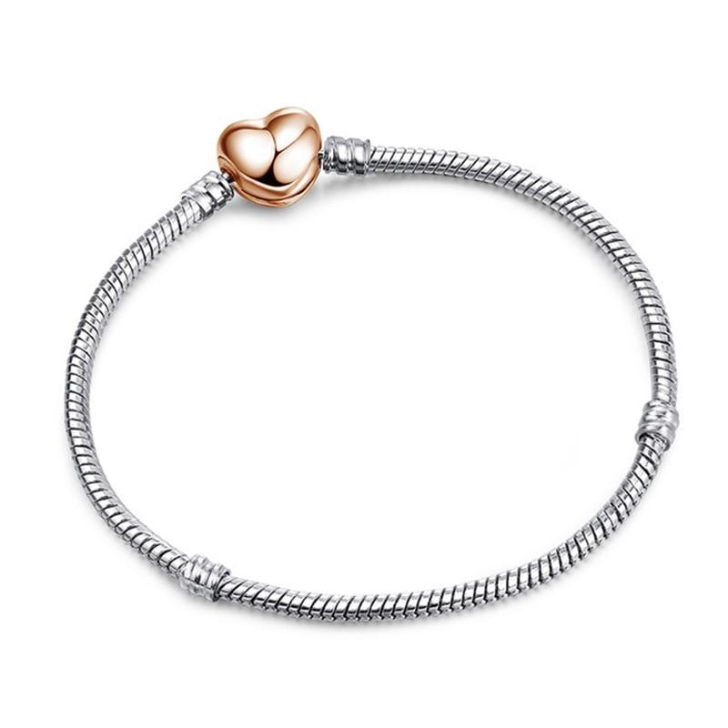 Новинка, браслет с подвеской из розового золота с Микки-Маусом, цепочка со змеей, подходит для Pan, базовые браслеты для модных женщин, бусины, сделай сам, ювелирное изделие - Окраска металла: NSL014