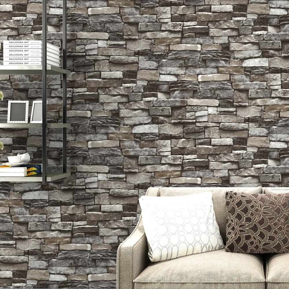 3D Rustic Stone Brick Wallpaper for Living Room, Bedroom or Restaurant