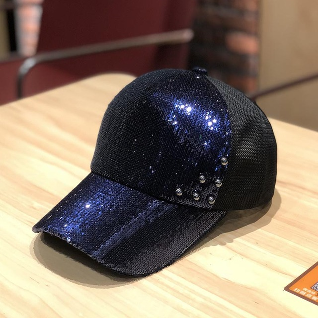 women summer snapback hat sequins pearls baseball hat net sunshade hat glittering fashion baseball hat 2020 new 2