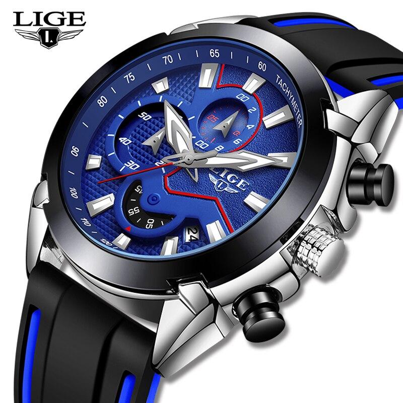 LIGE New Fashion Mens Watches Silicone Strap Top Brand Luxury Waterproof Sports Chronograph Quartz Watch Men Relogio Masculino