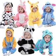 Infant Rompers Baby Girl Clothes Stitch Kigurumi Pajamas Fla