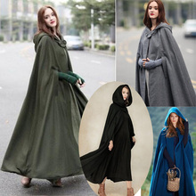 Medieval Cloak Hooded Cape Coat Women Vintage Gothic Cape Long Trench Overcoat 2019 Women Halloween Role Cosplay Costume Cloaks doctor strange cloak cosplay costume dr strange steve red cloaks magic robe halloween party long cape