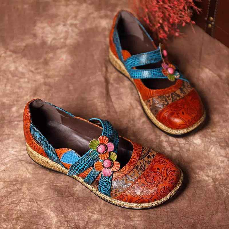 Vintage Floral Genuine Leather Splicing Colored Stitching Hook Loop Flat Shoes Spring Summer Casual Women Flat Shoes New
