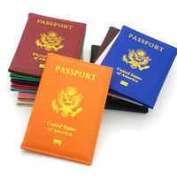 Funda de cuero para pasaporte de PU para mujer, protector de pasaporte personalizado con soporte de pasaporte de Estados Unidos rosa para chica