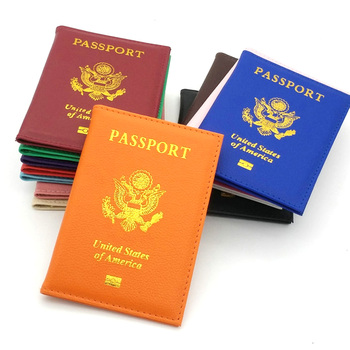 Travel PU Leather Passport Cover Personalised Women Pink USA Passport Holder American Covers for passport Girls pouch Passport фото