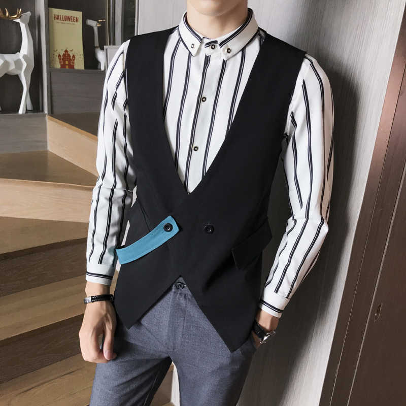 Leesbaar 2020 Nieuwe Jurk Vesten Voor Mannen Slim Fit Heren Pak Vest Mannelijk Vest Gilet Homme Casual Mouwloze Zakelijke Jas