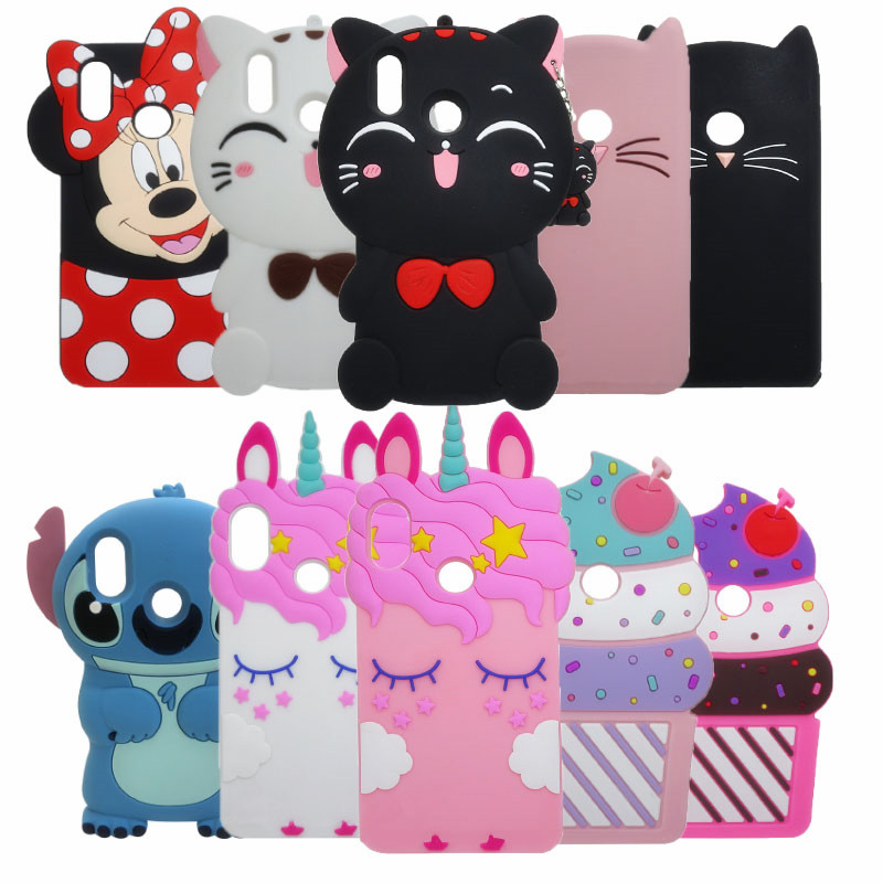 3D Cartoon Phone Case For huawei Honor 10 Lite Case Minnie Cupcake Cat Silicone Case Cover For Huawei Honor 10 Lite coque bags image