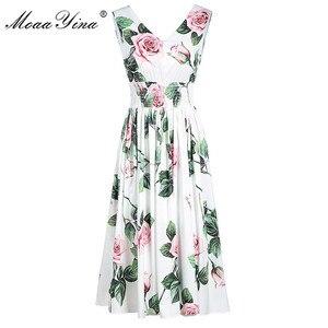 MoaaYina créateur de mode femme robe d'été femmes robe col en v Rose imprimé fleuri taille élastique robes