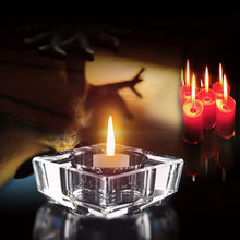 Crystal candlestick Clear Crystal Glass Candle Holder Tea Light Stand Candlestick Wedding Decor Home romantic decorative crystal(China)