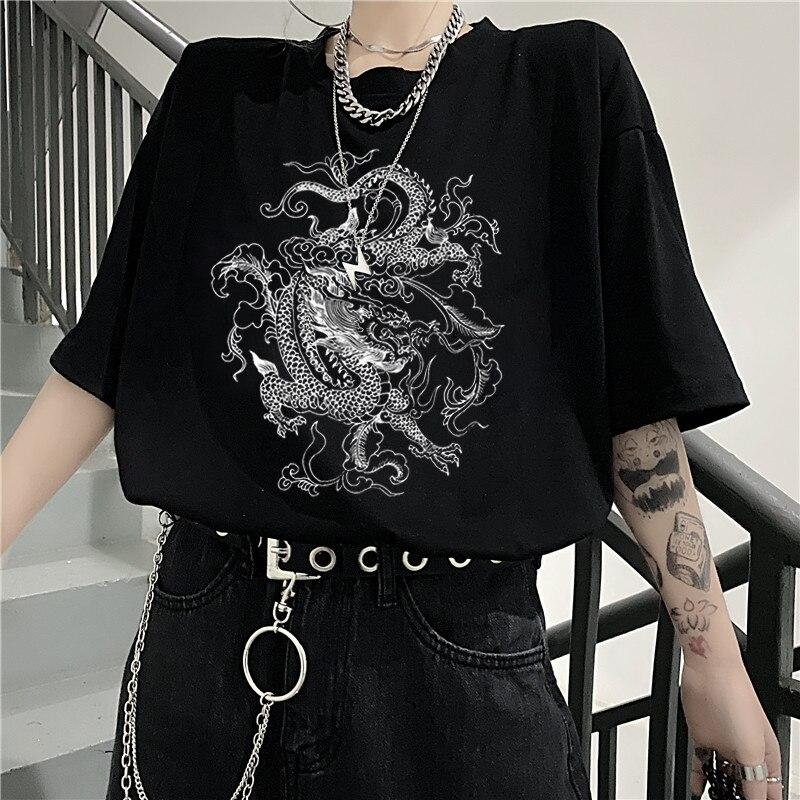 Korean fun dropshipping Ulzzang cute dragon punk Gothic clothes top Short sleeve hip hop vintage print bar Harajuku women tshirt(China)