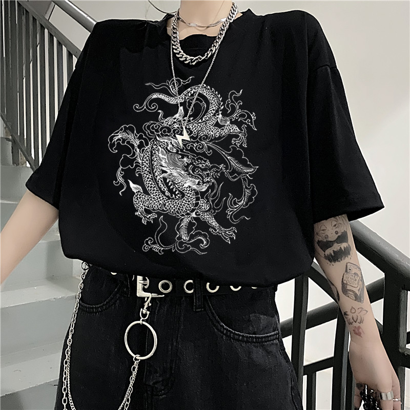 Korean Fun Dropshipping Ulzzang Cute Dragon Punk Gothic Clothes Top Short Sleeve Hip Hop Vintage Print Bar Harajuku Women Tshirt