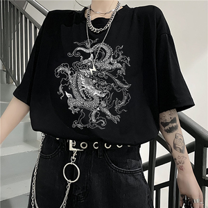 Korean fun dropshipping Ulzzang cute dragon punk Gothic clothes top Short sleeve hip hop vintage print bar Harajuku women tshirt